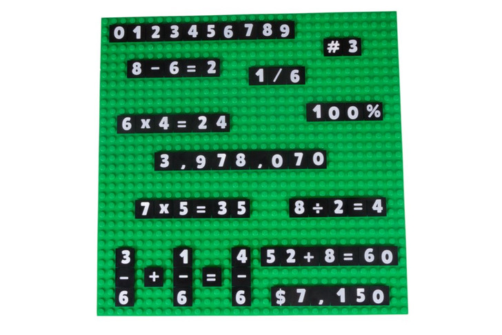 "Strictly Briks MathBriks & 10""x10"" Green Base Plate Classroom Set 100% Compatible with All Major Brands 