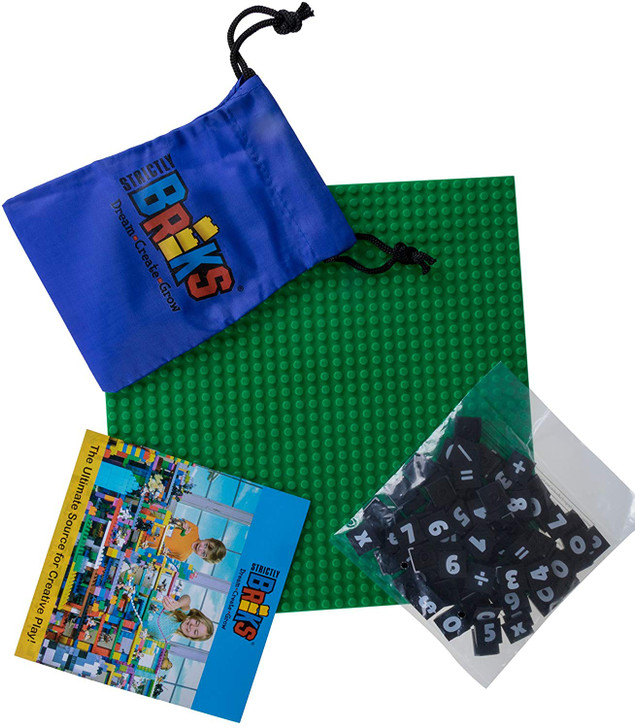 """Strictly Briks MathBriks & 10""""x10"""" Green Base Plate Classroom Set 100% Compatible with All Major Brands 