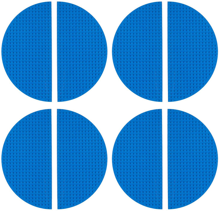 "Strictly Briks Half Circle Baseplates for Building Bricks | Compatible with Major Brands | 8 Circular Baseplates | 10"" Diameter (Blue)"