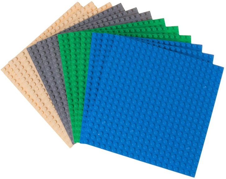 "Strictly Briks Classic Baseplates 100% Compatible with All Major Building Brick Brands | Double Sided Stackable Bases | 12 Tight Fit Base Plates in Blue, Green, Gray & Sand 6.25"" x 6.25"""