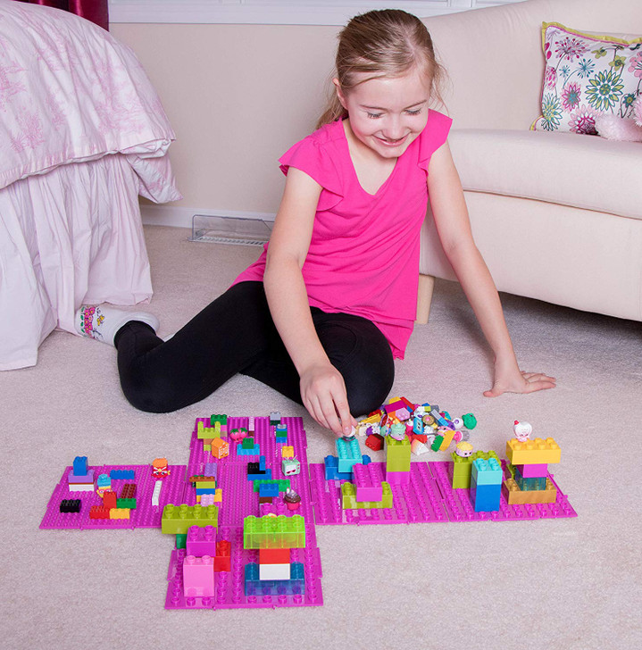 Strictly Briks The Cube 3D Building Brick & Storage Container Set Pat. Pending | Compatible with All Major Brands | 6 Square Plates | Double Sided for Large & Small Bricks (Magenta)