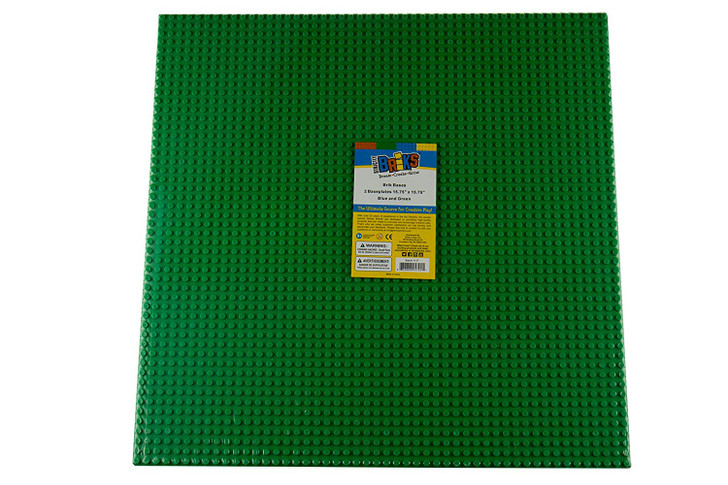"Strictly Briks Classic Baseplates for Building Bricks 100% Compatible with Major Brands | Building Bases for Tables, Mats and More! | 2 Base Plates in Green 15.75"" x 15.75"""