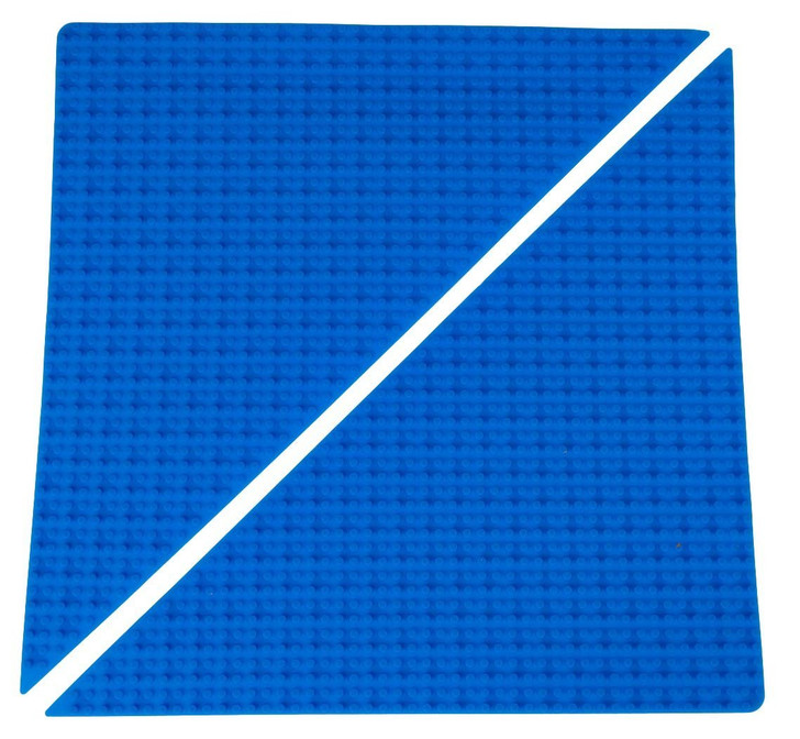 "Strictly Briks Classic Blue Right Triangle Roll Up Building Mat 15""x15"" Double Sided Silicone Travel Mat 