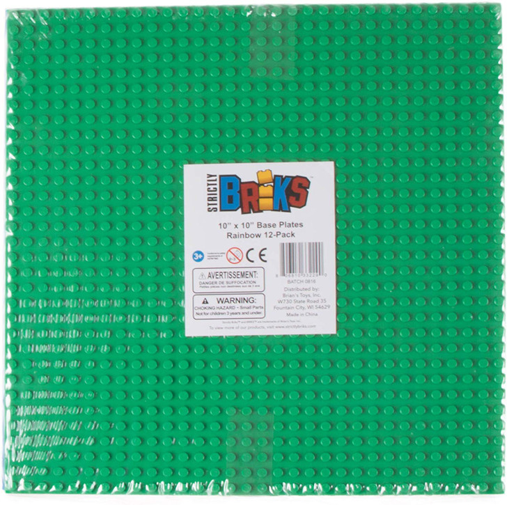 Strictly Briks Baseplate 12 Pack - Compatible with All Major Brands!