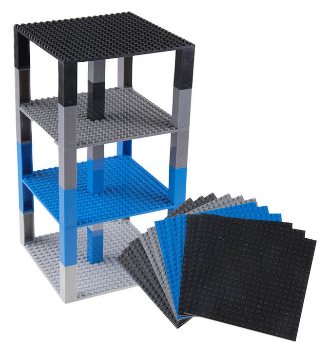 """Strictly Briks Classic Stackable Baseplates 6"""" x 6"""" Brik Tower by 100% Compatible with All Major Brands 