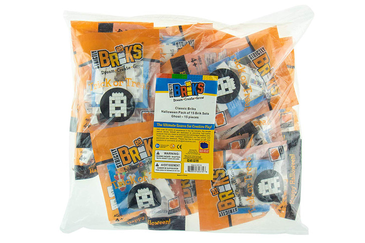 Strictly Briks - Halloween Building Bricks Party Favors - Trick or Treat Bags with Ghost Toy - Goodie Bag Fillers - Handout a Healthy Alternative to Candy - 15 Goody Bags
