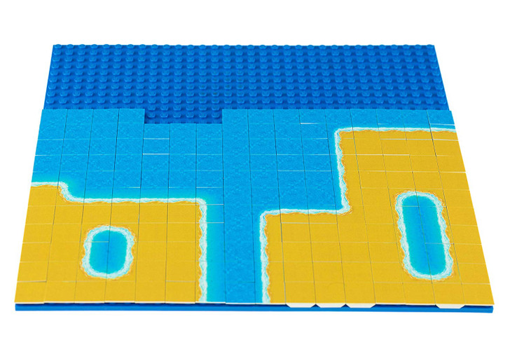 Strictly Briks Beach Building Tile Set - 100% Compatible with All Major Brick Brands - 256 2x2 Textured Tiles for Creative Play - Baseplate Available Separately