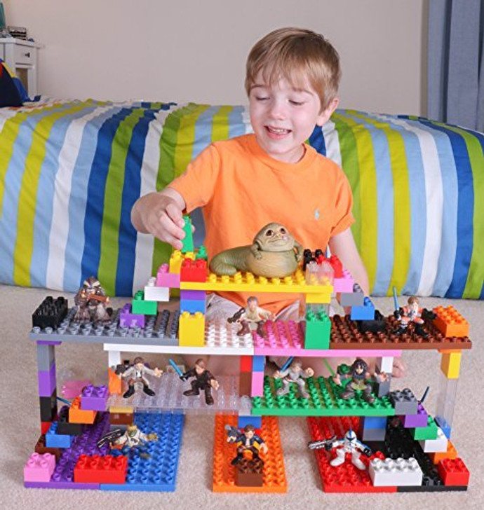 "Strictly Briks Classic Big Brik Tower Set 100% Compatible with All Major Brands | Large Pegs for Toddlers | 12 Big Brik Base Plates in Rainbow Colors (7.5"" x 3.75"") and 96 Assorted Big Briks"