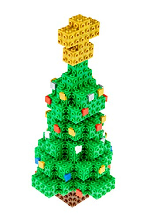Strictly Briks - Building Bricks and Blocks Set - 3D Briks Christmas Tree with Festive Ornaments and a Nativity Gold Star - 100% Compatible with All Major Brick Brands - 152 Pieces