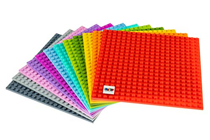 "Strictly Briks - Classic Baseplates - 6"" x 6"" Building Brick Base Plates - 100% Compatible with All Major Brands - 12 Colorful Baseplates for Building Towers, Tables & More"