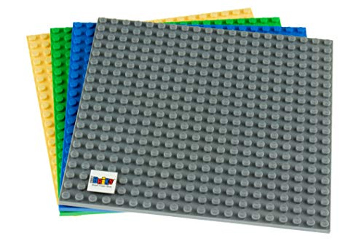 Strictly Briks | 6x6 Classic Baseplates | 4 Pack Blue Green Gray Sand