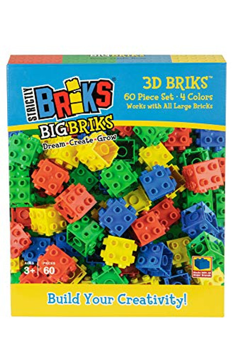 Strictly Briks Big Briks 60 Piece 3D Building Bricks in Blue, Green, Red, and Yellow Creative Play Set - 100% Compatible with All Large Brick and Block Brands - Ages 3 and Up