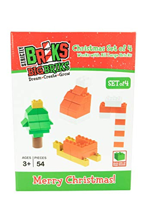 Strictly Briks - Building Bricks and Large Blocks Set - Christmas 4 in 1 Set - 100% Compatible with All Big Brick Brands - 49 Pieces
