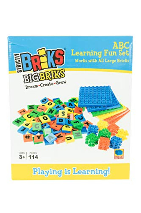 Strictly Briks 4 Color Montessori 114 Total Letters, Numbers and 3D Briks & 8x8 Plates