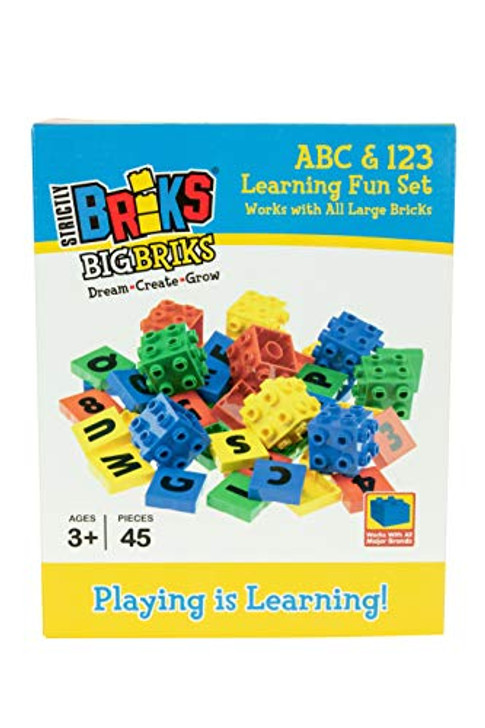 Strictly Briks Big Briks | 4 Color Montessori | Includes 45 Total Letters, Numbers and 3D Briks | Compatible with Major Brands