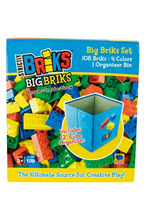 Strictly Briks - Big Briks - 108 Piece Set in 4 Colors with a Collapsible Organizer - 100% Compatible with All Major Large Brick Brands