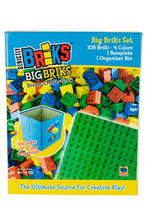 Strictly Briks - Big Briks - 108 Piece Set in 4 Colors with a Collapsible Organizer and a Baseplate - 100% Compatible with All Major Large Brick Brands