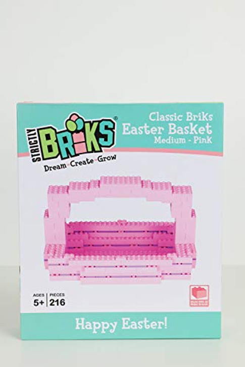 Strictly Briks Easter Basket | Build Your Own Easter Basket | Easter Basket | Pink | 216 Pieces | Compatible with outher Major Brands