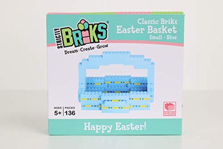 Strictly Briks Easter Basket | Build Your Own Easter Basket | Easter Basket | Blue | 136 Pieces | Compatible with outher Major Brands