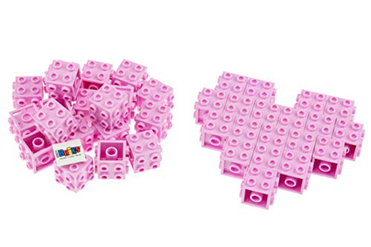 Strictly Briks - Valentine's Day Heart Party Favors - 6 Pack of Building Bricks for Classroom Gift Box Exchange - Healthy and Engaging Alternative to Candy and Cards