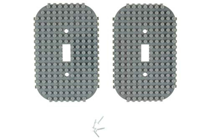 Classic Light Switch Baseplate Covers by Strictly Briks | Building Bricks Base Plates | 100% Compatible with All Major Brands | Unique Cover for Bedrooms and Play Rooms | 2 Pack Gray