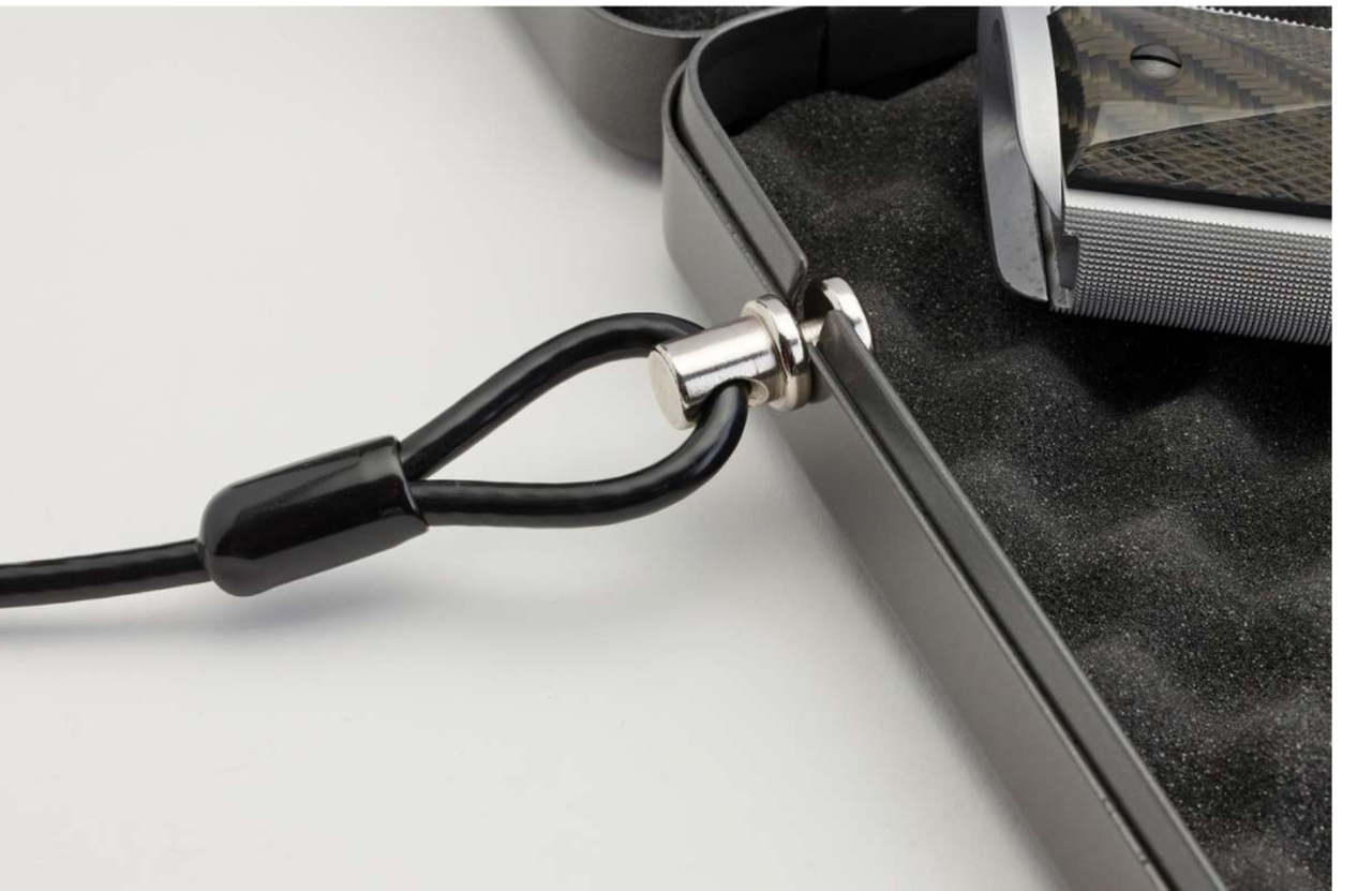 The Alpha Elite® Lock Box has a 3-foot steel security cable is rated for 1500 lbs.