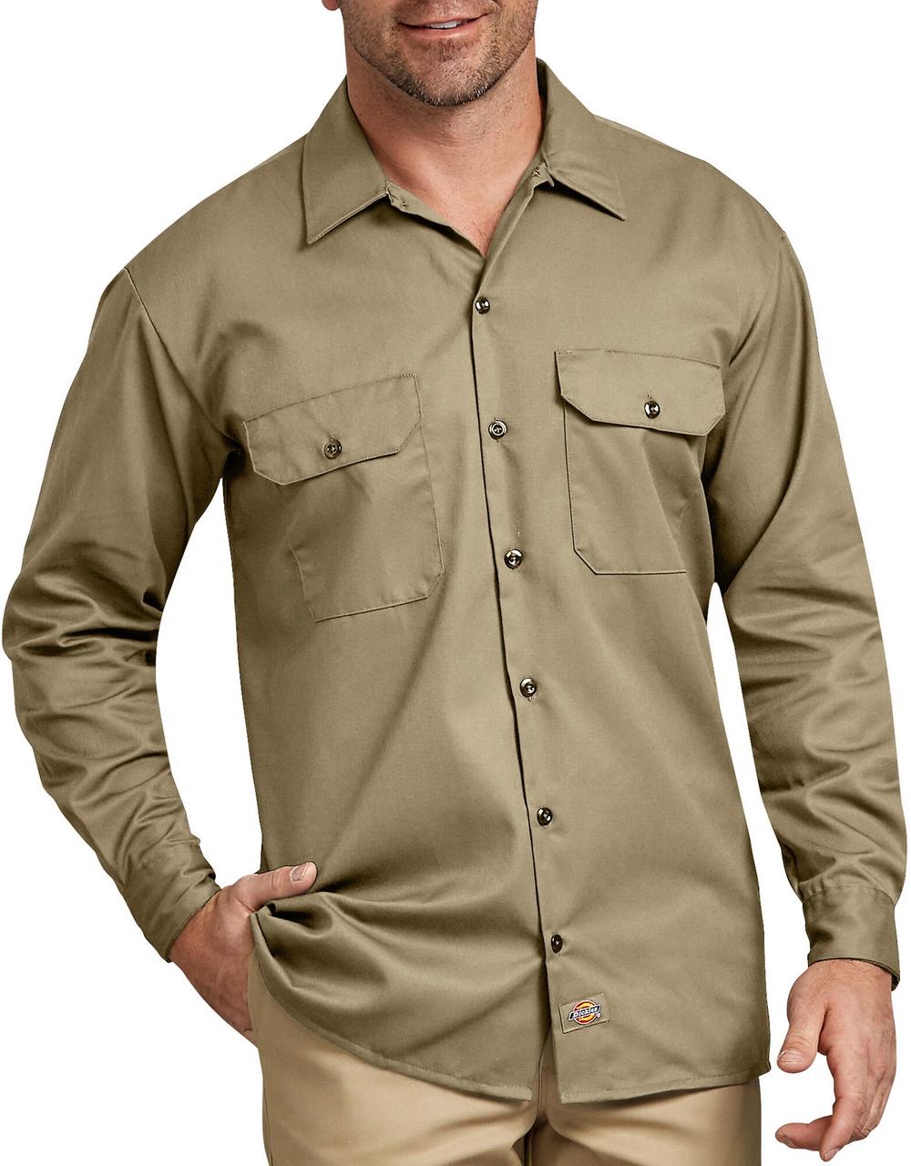 Dickies Long Sleeve Work Shirt, Military Khaki