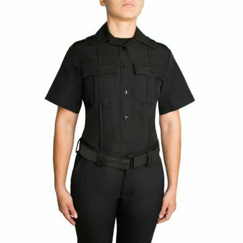 BLAUER WOMEN'S SHORT SLEEVE ZIPPERED POLYESTER SHIRT - Boston PD Patched