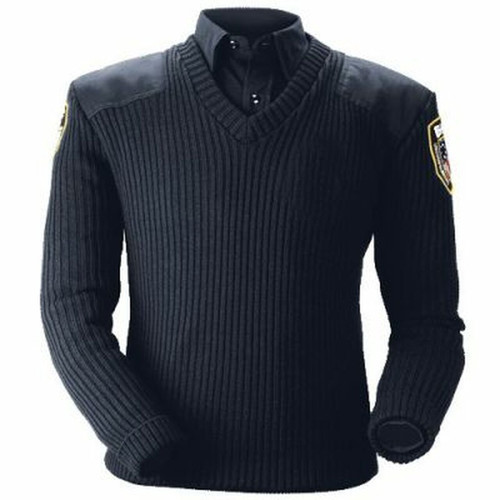CLASSIC V-NECK SWEATER w/ Boston Police Patches