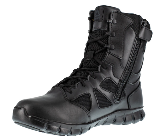 "Men's SUBLITE CUSHION TACTICAL 8"" Tactical Waterproof Boot with Side Zipper - Black"
