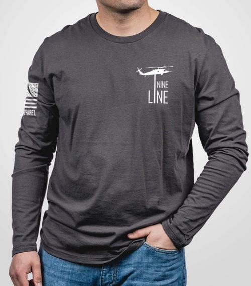 Nine Line Apparel - American Drop Line - Grey Long Sleeve Shirt