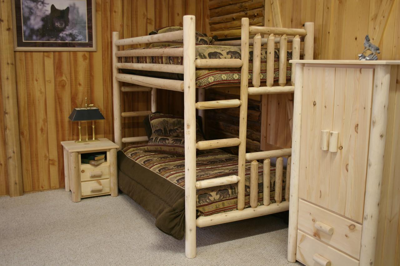 Picture of: Frontier Cedar Log Bunk Beds Cf7017 Cf7018 Cf7019 Cf7025 Hidden Lake Furniture Llc