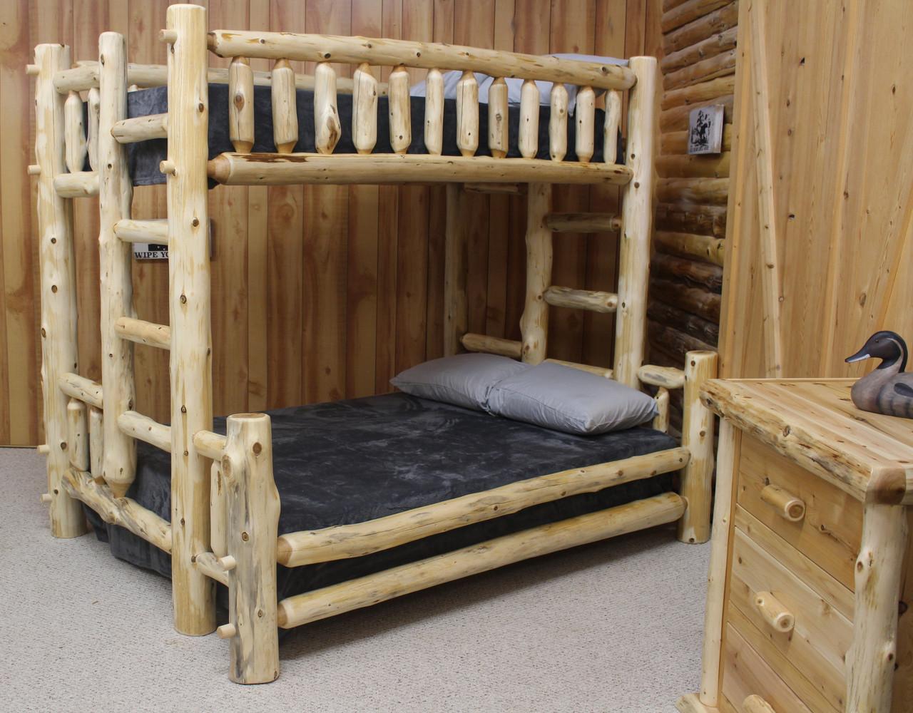 Picture of: Cedar Hand Peeled Full Over Queen Bunk Bed Chpf Qbunk Hidden Lake Furniture Llc