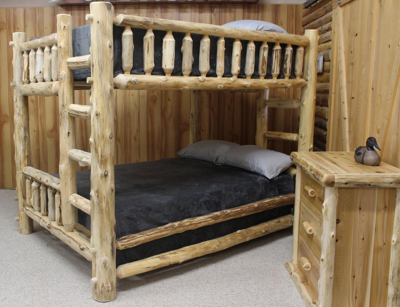 Picture of: Cedar Hand Peeled Queen Over Queen Bunk Bed Chpq Qbunk Hidden Lake Furniture Llc