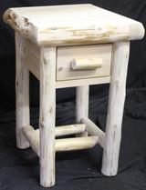 Grizzly Ridge Hand Peeled Cedar Log 1 Drawer Night Stand - GRHP1DNS