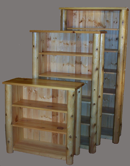 Log Bookcases with Adjustable shelves