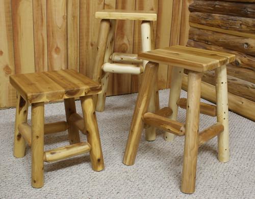 Cedar Log Flat Seat Stools - C4042, C4043, C4044