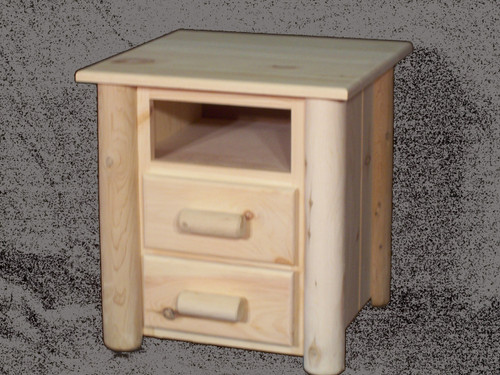 Frontier Cedar Log 2 Drawer Night Stand with Open Top - CF7102