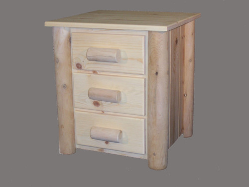 Frontier Cedar Log 3 Drawer Night Stand - CF7103