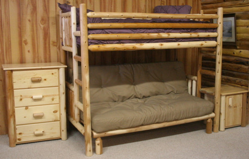 Frontier Cedar Log Twin Bunk Over Futon - CFTF7024
