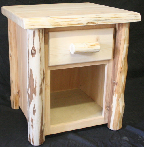 Frontier Hand Peeled Cedar Log 1 Drawer Open bottom Night Stand - FHP8001
