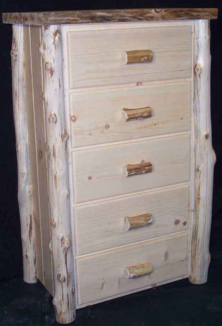 Frontier Hand Peeled Cedar Log 5 Drawer Chest - FHP8005
