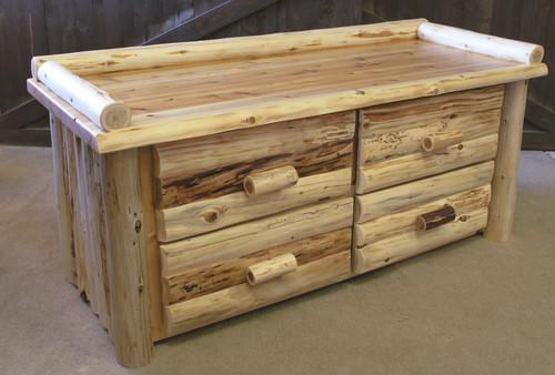 Hand Peeled Cedar Log 4 Drawer Deacons Bench - CHP5021