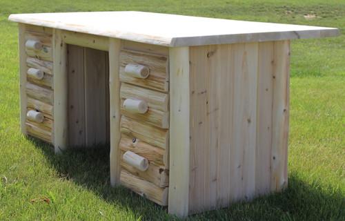 Cedar Hand Peeled Log Executive Desk - CHPEXDSK