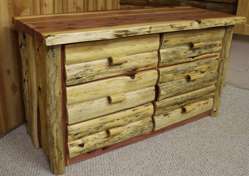 Hand Peeled Red Cedar 6 Drawer Dresser - HLRC6DRW