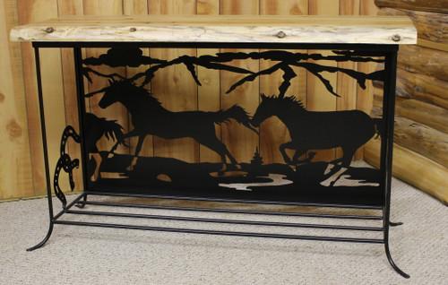 Iron Ridge Live Edge Cedar And Metal Horse Silhouette Sofa Table - IRCMSH