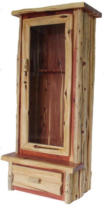 Hand Peeled Red Cedar 6 Gun Cabinet