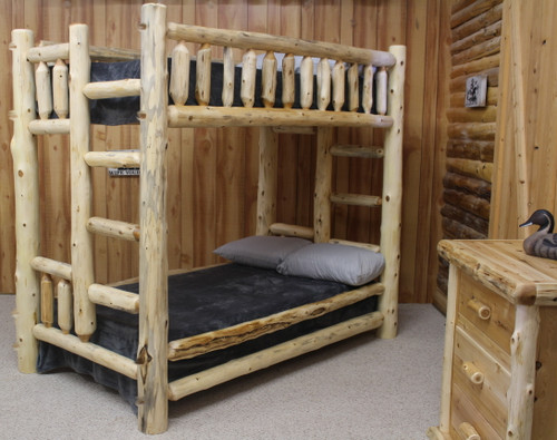 Cedar Hand Peeled  Log Twin Over Twin Bunk Bed - CHPT/TBunk