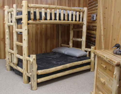 Cedar Hand Peeled XL Twin Over Queen Bunk Bed - CHPXLT/QBunk