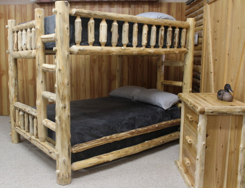 Cedar Hand Peeled Queen Over Queen Bunk Bed - CHPQ/QBunk